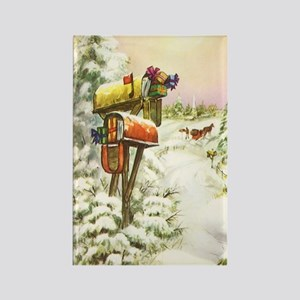 Vintage Christmas Mailboxes Rectangle Magnet