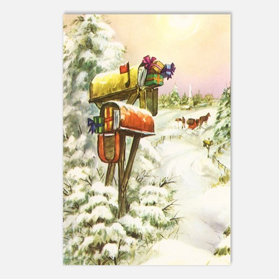 Vintage Christmas Mailbox Postcards (Package of 8)