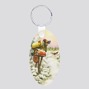 Vintage Christmas Mailboxes Aluminum Oval Keychain