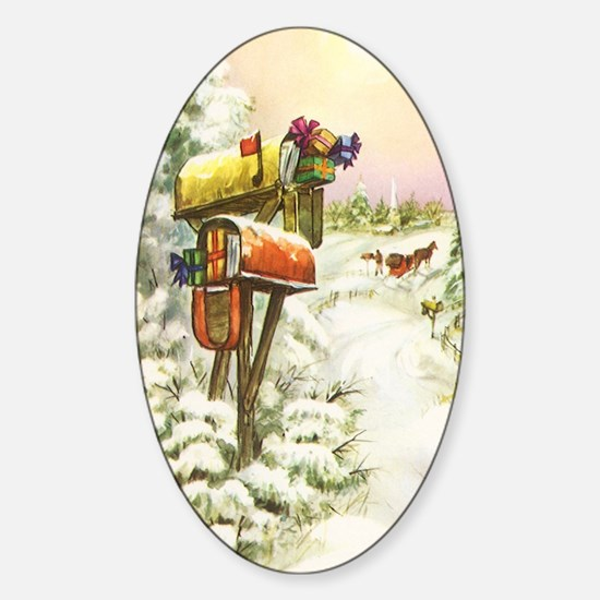Vintage Christmas Mailboxes Sticker (Oval)
