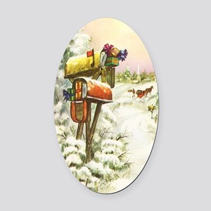 Vintage Christmas Mailboxes Oval Car Magnet