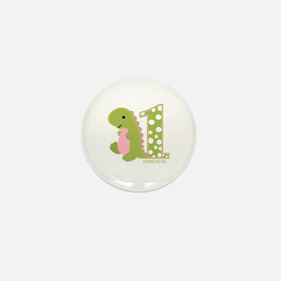 Custom First Birthday Green Dinosaur Mini Button