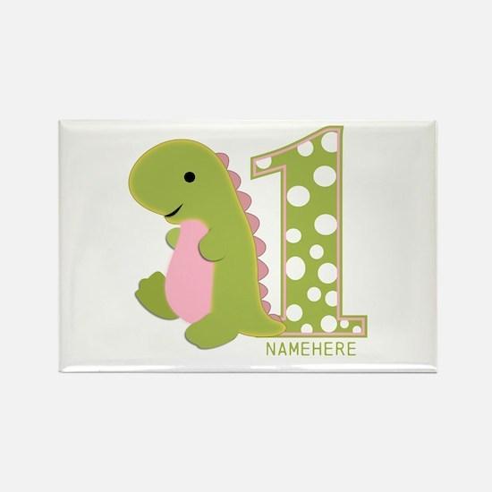 Custom First Birthday Green Dinosaur Rectangle Mag