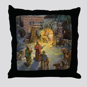 Vintage Christmas Nativity Throw Pillow