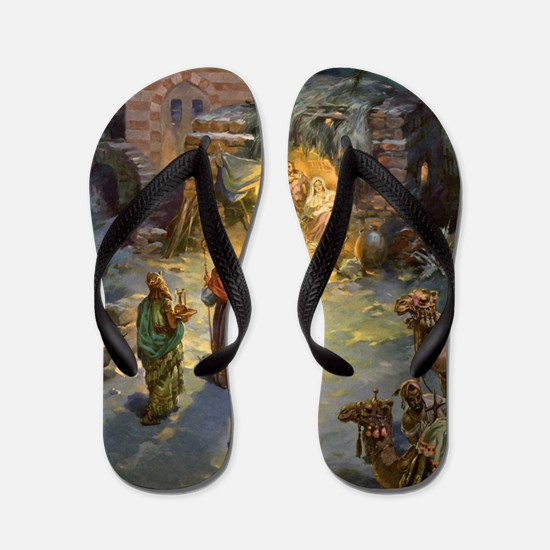 Vintage Christmas Nativity Flip Flops