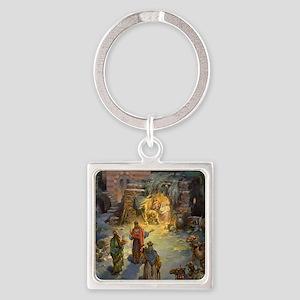 Vintage Christmas Nativity Square Keychain