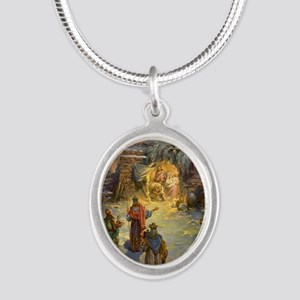 Vintage Christmas Nativity Silver Oval Necklace