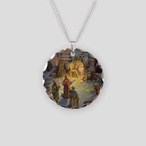 Vintage Christmas Nativity Necklace Circle Charm