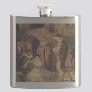 Vintage Christmas Nativity Flask