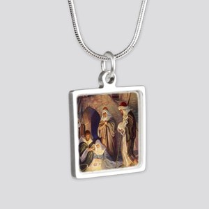 Vintage Christmas Nativity Silver Square Necklace