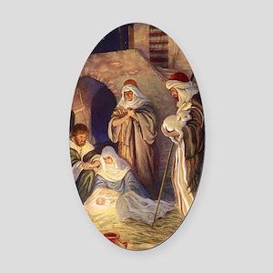 Vintage Christmas Nativity Oval Car Magnet