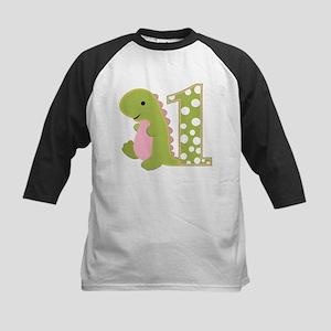 First Birthday Dino Kids Baseball Jersey