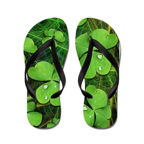 Green Shamrock Clover St Patricks Day Flip Flops