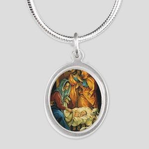 Vintage Christmas Nativity Silver Oval Necklace