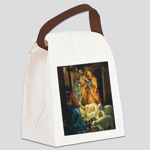 Vintage Christmas Nativity Canvas Lunch Bag