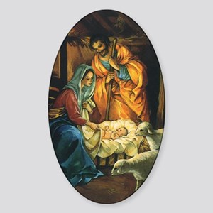 Vintage Christmas Nativity Sticker (Oval)