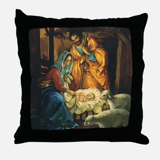 Vintage Christmas Nativity Throw Pillow