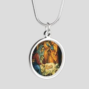 Vintage Christmas Nativity Silver Round Necklace