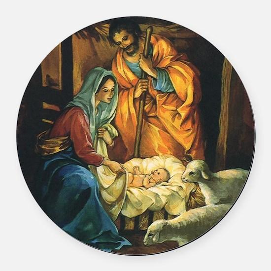 Vintage Christmas Nativity Round Car Magnet