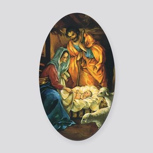Vintage Christmas Nativity Oval Car Magnet