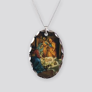 Vintage Christmas Nativity Necklace Oval Charm