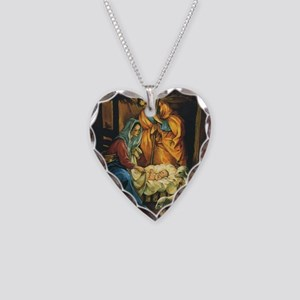 Vintage Christmas Nativity Necklace Heart Charm
