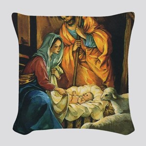 Vintage Christmas Nativity Woven Throw Pillow