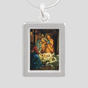 Vintage Christmas Nativi Silver Portrait Necklace