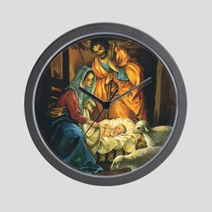 Vintage Christmas Nativity Wall Clock