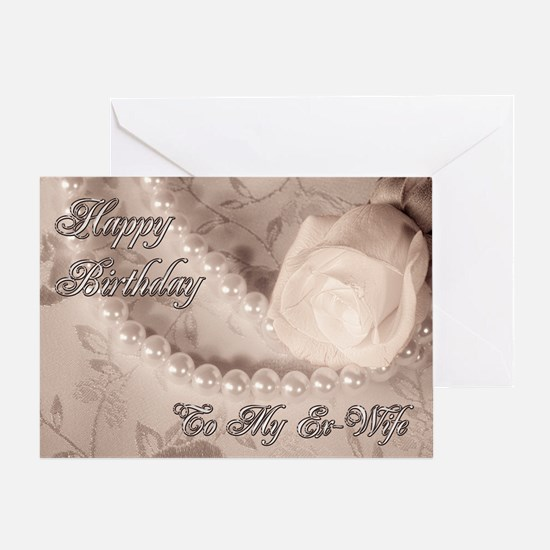 For ex-wife, birthday card with pearls Greeting Ca