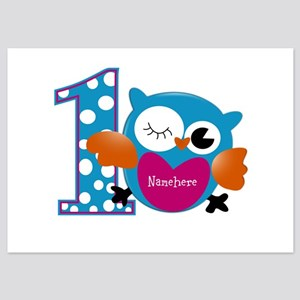 Customized Owl First Birthday 5x7 Flat Cards