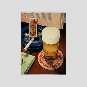 Beer, Cigarette, Vintage Poster 5'x7'Area Rug