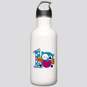 Cute Owl First Birthday Stainless Water Bottle 1.0