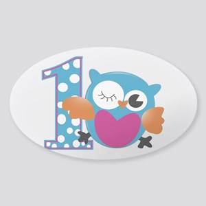 Cute Owl First Birthday Sticker (Oval)