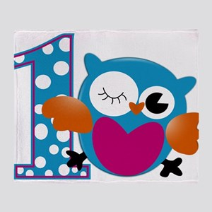 Cute Owl First Birthday Throw Blanket