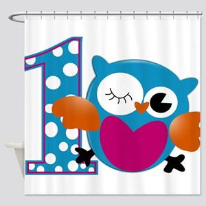 Cute Owl First Birthday Shower Curtain