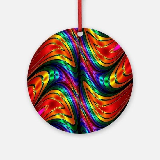 Fractal Silk Rainbow Pattern Ornament (Round)