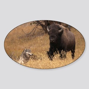 Bull Bison & Wolf Sticker (Oval)