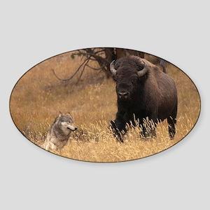 Bull Bison & Wolf Sticker (Oval)