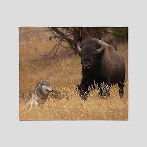 Bull Bison & Wolf Throw Blanket
