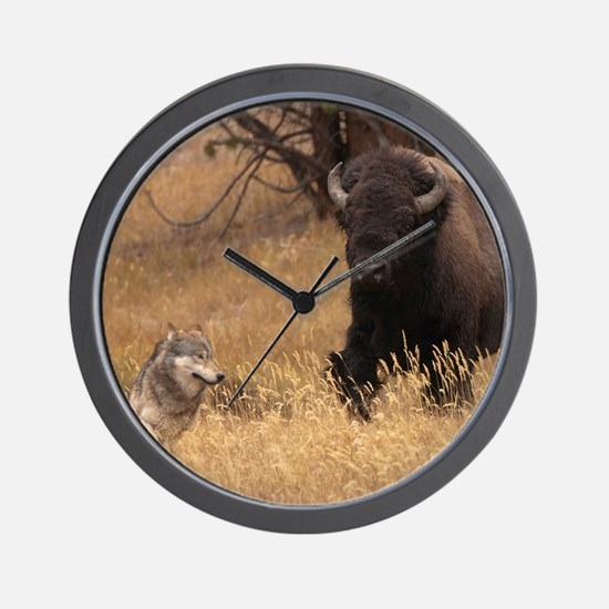 Bull Bison & Wolf Wall Clock