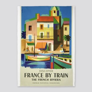 France, Train, Travel, Vintage Poster 5'x7'Area Ru