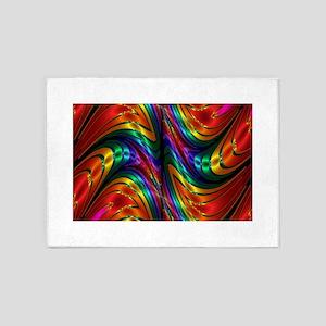 Fractal Silk Rainbow 5'x7'Area Rug