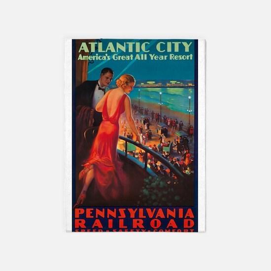 Atlantic City, Travel, Vintage Poster 5'x7'Area Ru