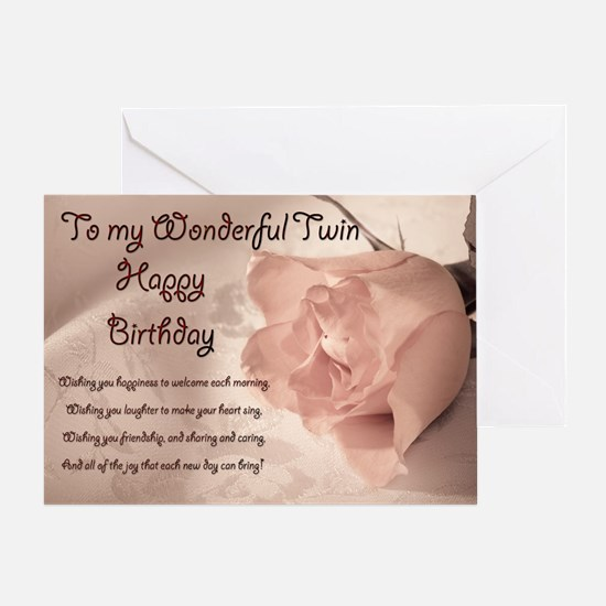 For twin, Elegant rose birthday card. Greeting Car