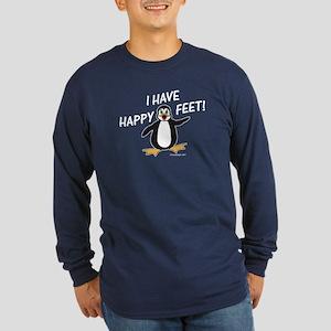 Happy Feet Penguin Long Sleeve Dark T-Shirt