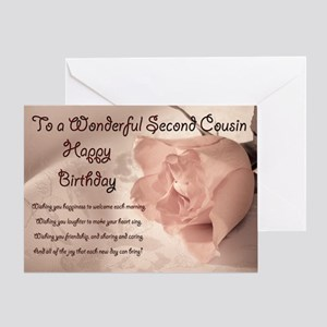 For second cousin, Elegant rose birthday card. Gre