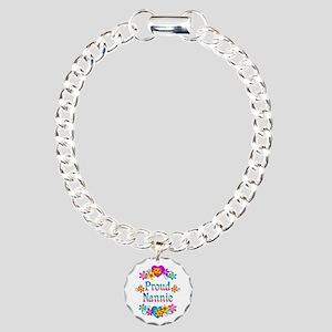 Proud Nannie Flowers Charm Bracelet, One Charm