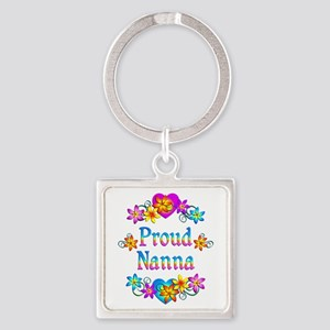 Proud Nanna Flowers Square Keychain