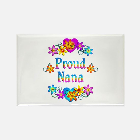 Proud Nana Flowers Rectangle Magnet